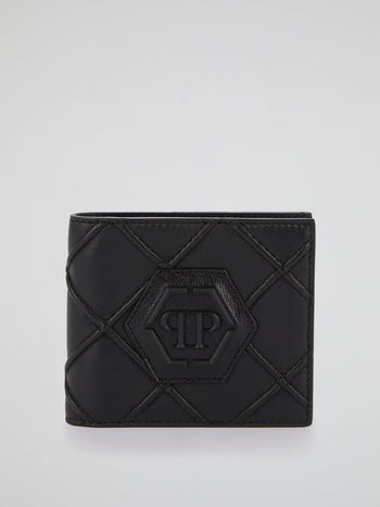 Black Geometric Logo French Wallet