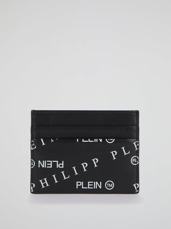Black Monogram Print Credit Card Holder