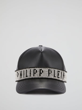Black Crystal Studded Logo Statement Cap