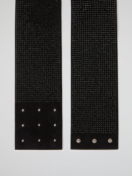Crystal Plein Black Multi-Stud Belt
