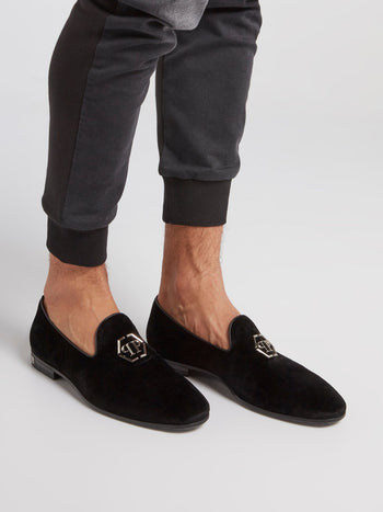 Black Monogram Embellished Loafers