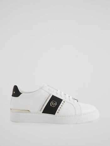 White Contrast Studded Leather Sneakers