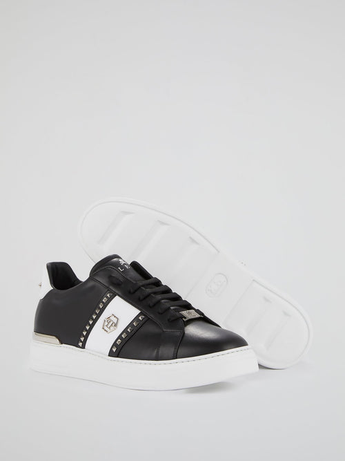 Black Contrast Studded Leather Sneakers