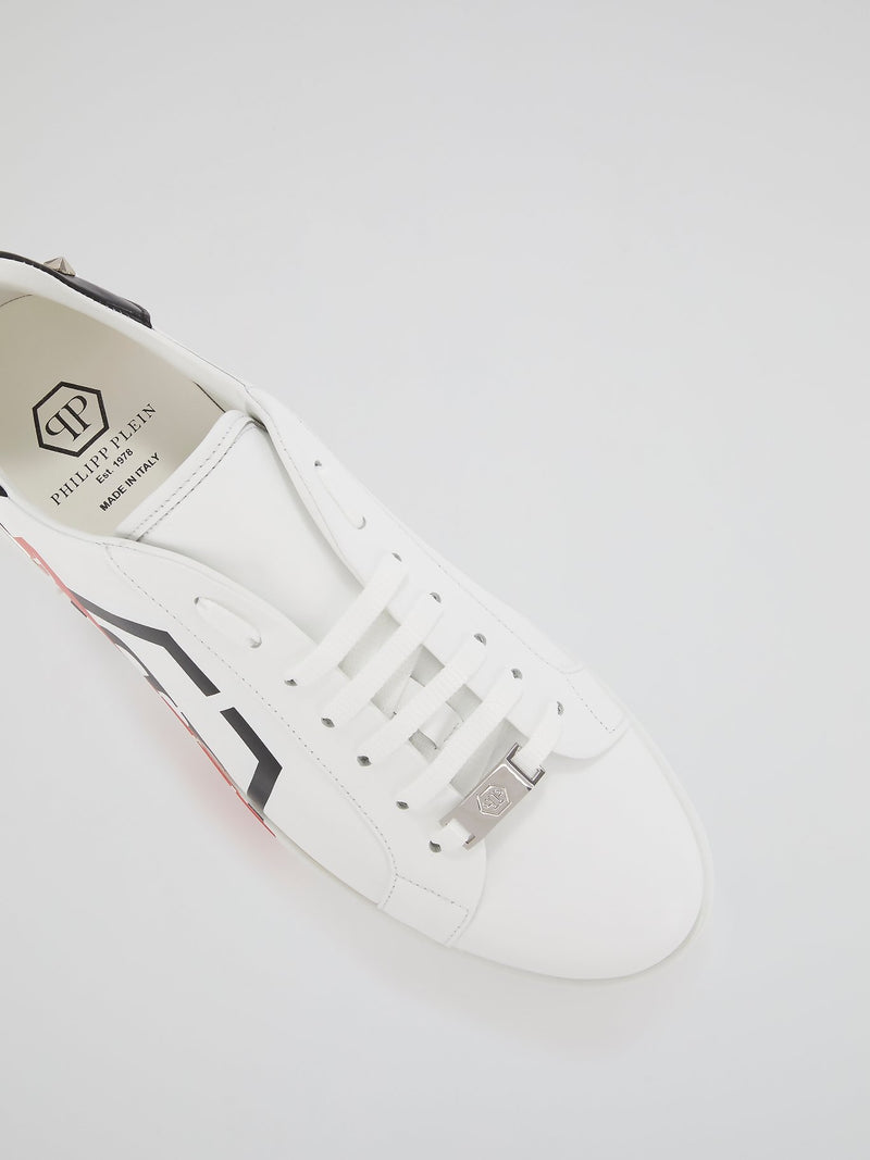 White Skull Heel Patch Sneakers