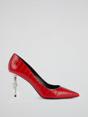 Red Skull Leather Pumps