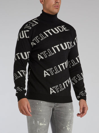 Black All Over Logo Turtleneck Sweater