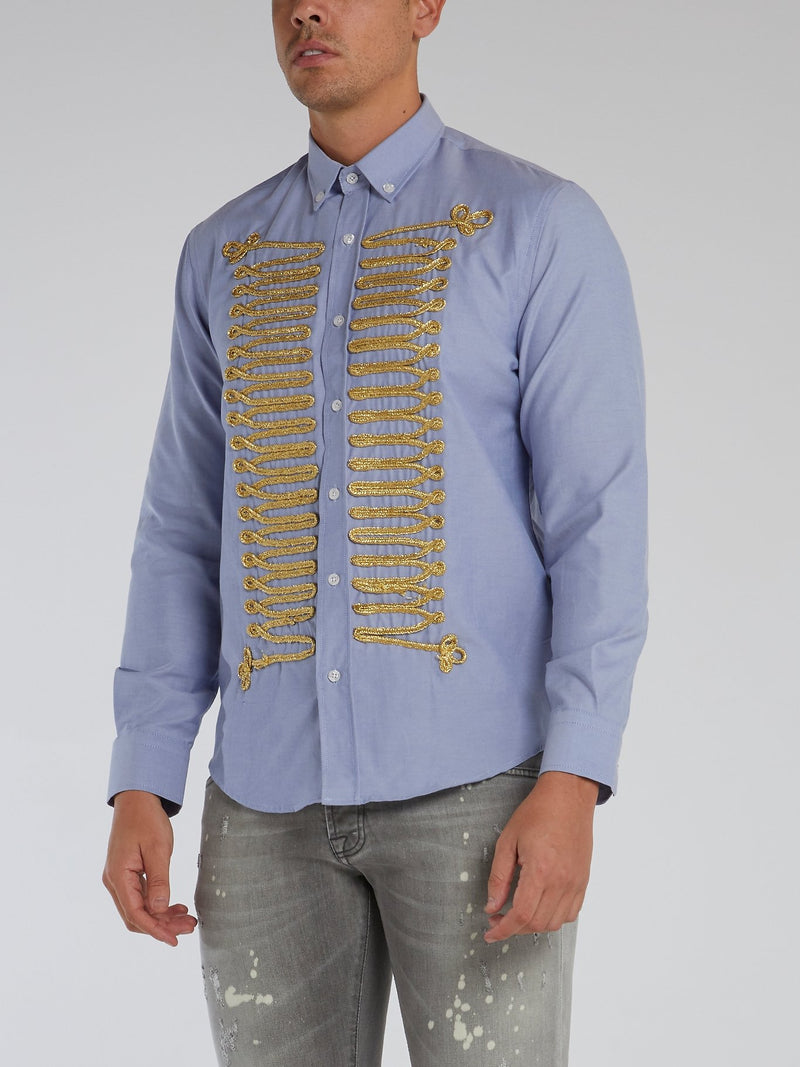 Blue Embroidered Button Down Shirt