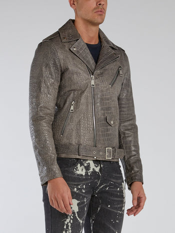 Grey Crocodile Effect Biker Jacket