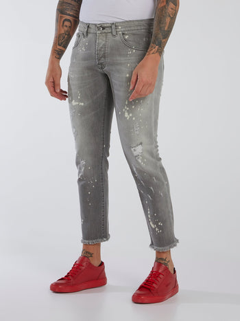 Grey Paint Splatter Frayed Jeans