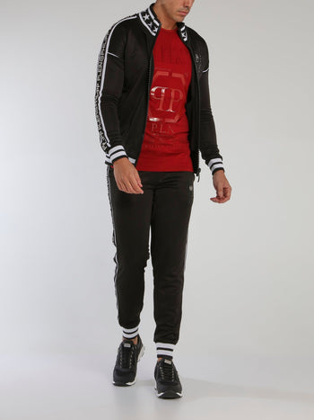 Black Stripe Trim Jogging Jacket