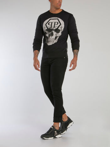 Black Reflective Monogram Skull Sweatshirt