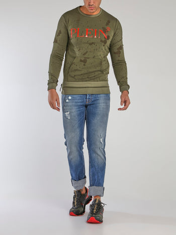Green Side Zip Distressed Sweatshirt