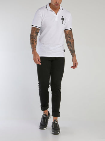 White Ribbed Trim Polo Shirt