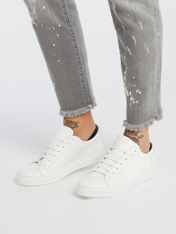 White Logo Leather Trainers