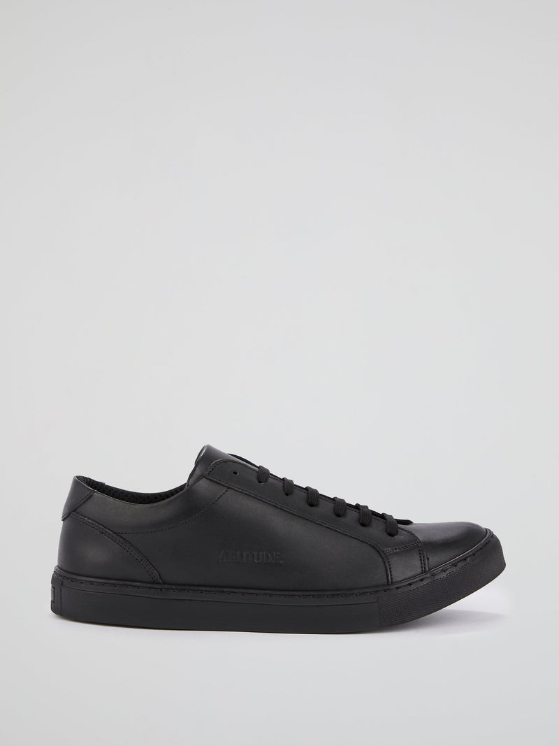 Black Logo Leather Trainers