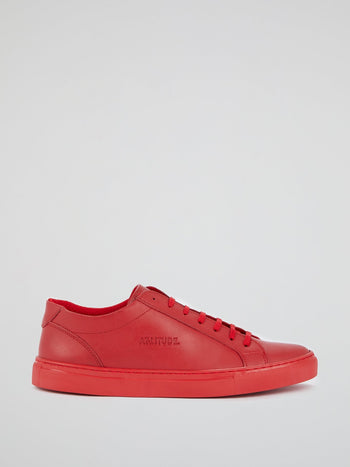 Red Logo Leather Trainers