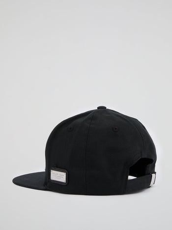 Black Logo Embroidered Visor Cap