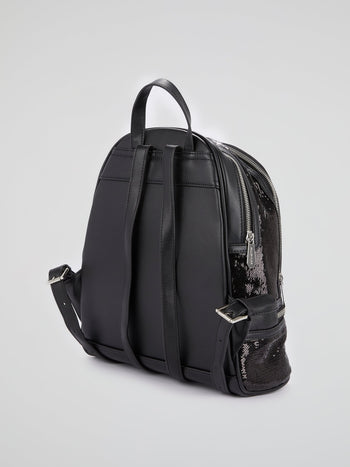 Black Monogram Patched Paillette Backpack