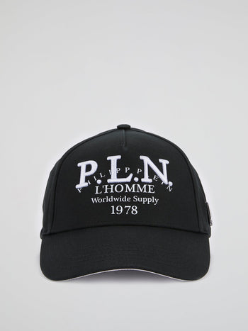Black Embroidered Visor Baseball Cap
