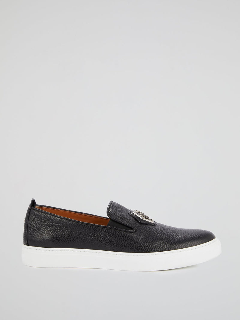 Black Monogram Patched Slip On Trainers