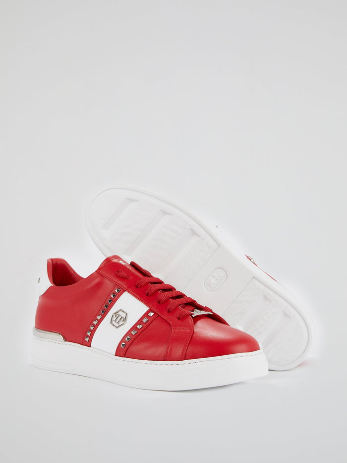 Red Colour Block Studded Sneakers