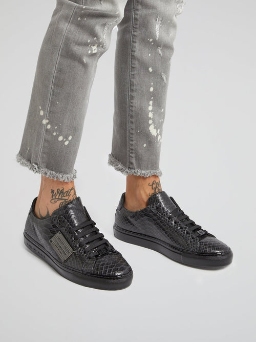 Black Low Top Reptile Sneakers