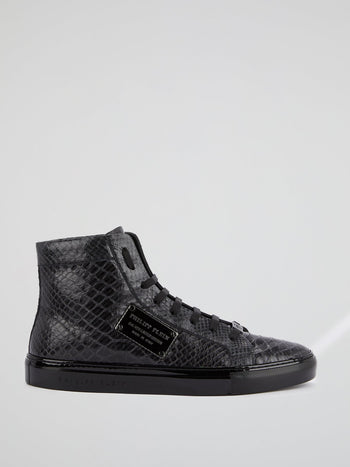Black High Top Reptile Sneakers