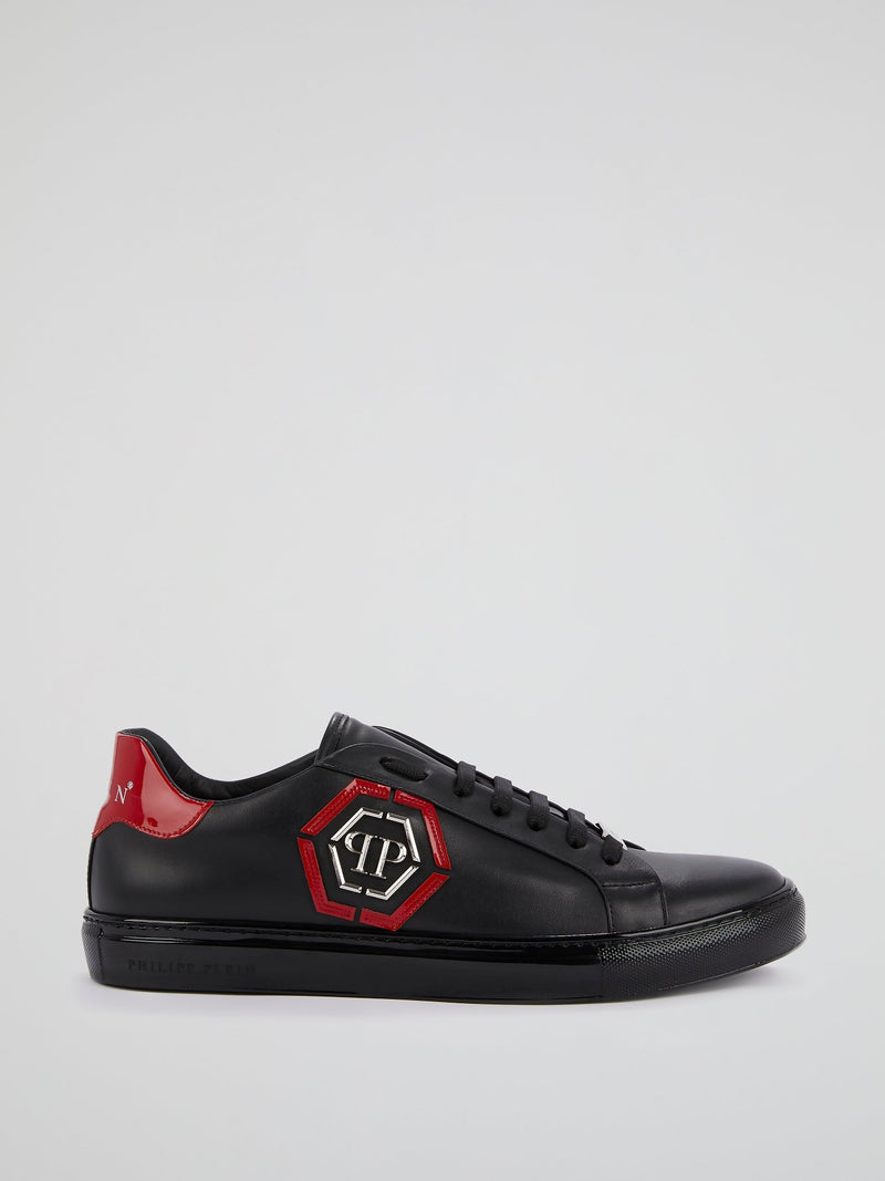 Jet Black Monogram Leather Trainers