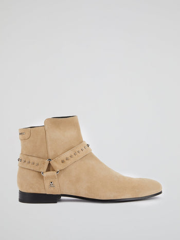 Beige Suede Ankle Boots