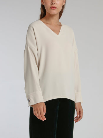 Lido White Long Sleeve Top