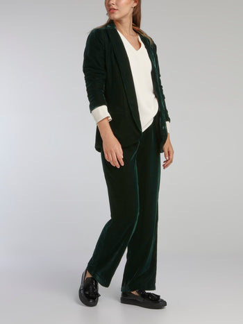 Wally Emerald Velvet Fluid Pants