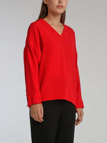 Lido Red Long Sleeve Top