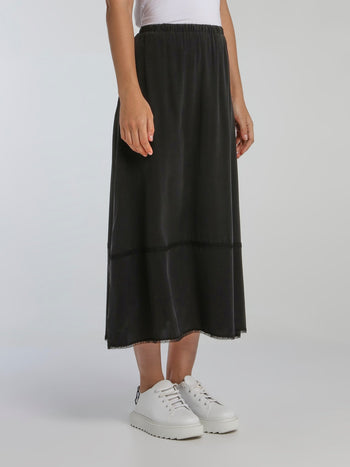 Marvin Black Waistband Midi Skirt