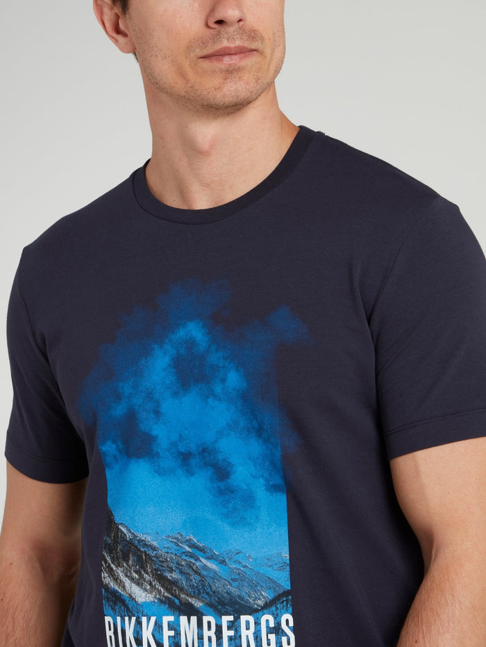 Navy Graphic Print T-Shirt