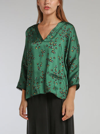Vanie Green Leaf Print Top