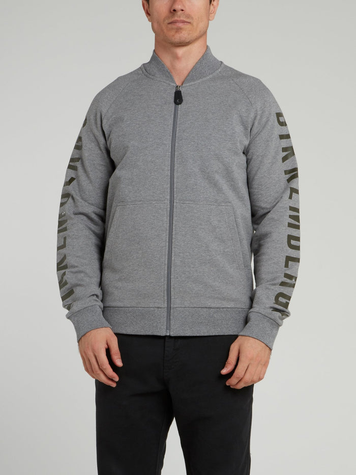 Grey Logo Sleeve Knitted Jacket