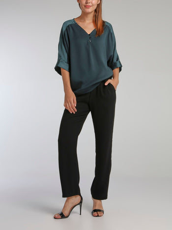 Lizzi Black Crepe Straight Pants