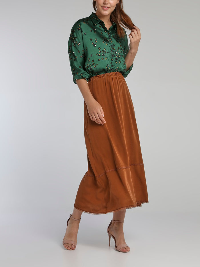 Marvin Brown Waistband Midi Skirt