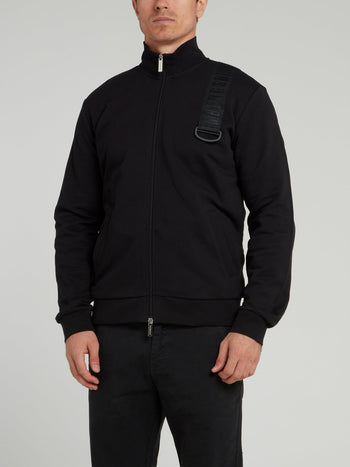 Black Logo Strap High Neck Jacket