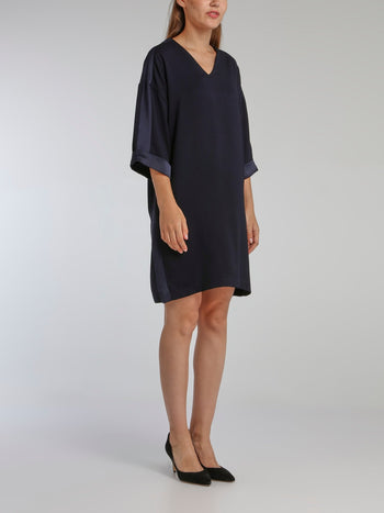 Valmy Navy Satin Panel Dress