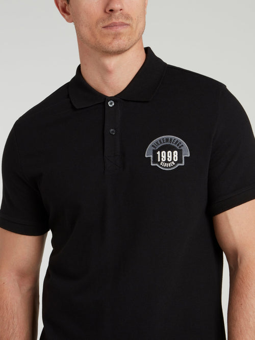 Black Logo Knitted Polo Shirt