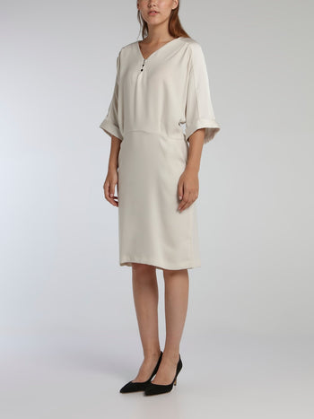 Vampas White Three-Quarter Sleeve Dress