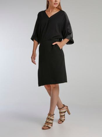 Vampas Black Three-Quarter Sleeve Dress