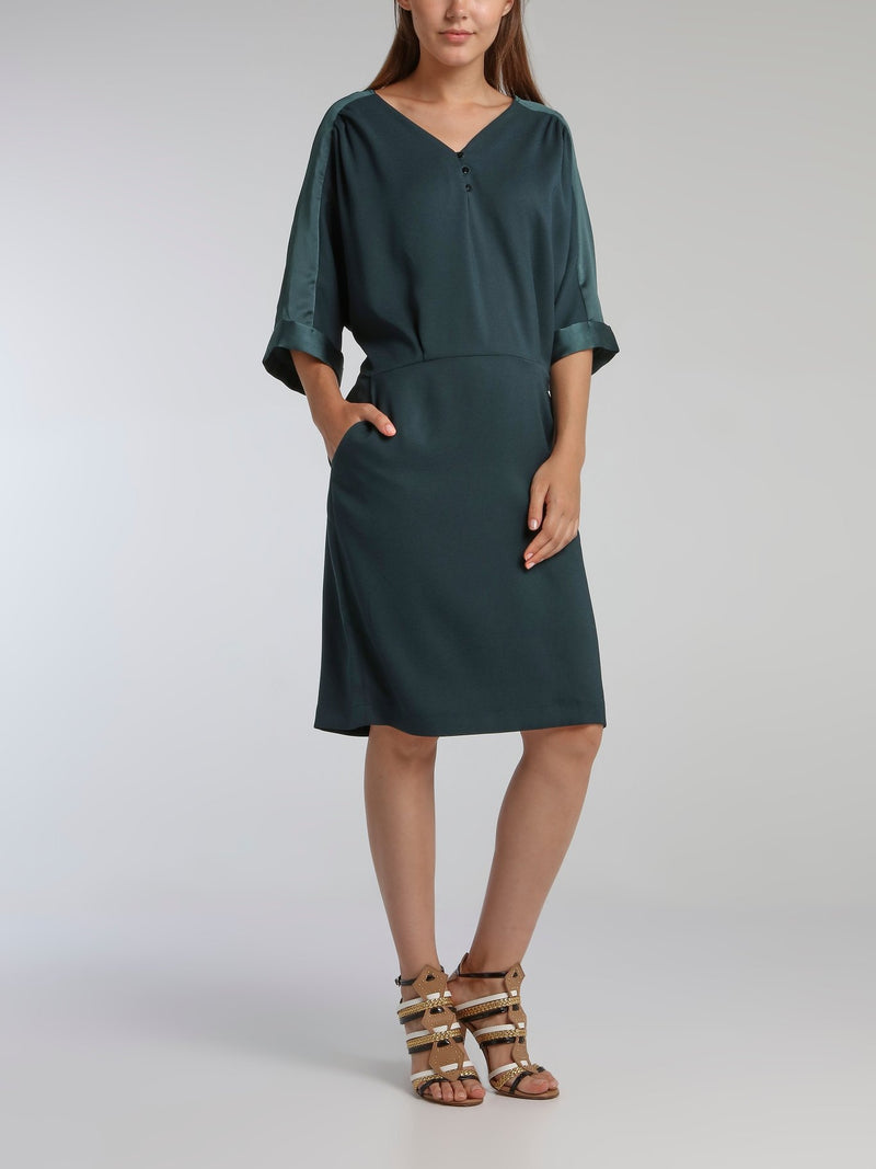 Vampas Teal Three-Quarter Sleeve Dress