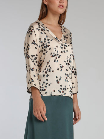 Vanie White Leaf Print Top
