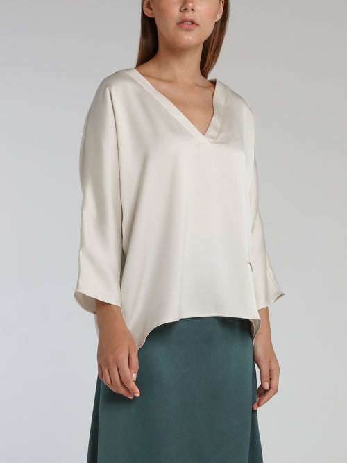 Vanille White Satin Crepe Top