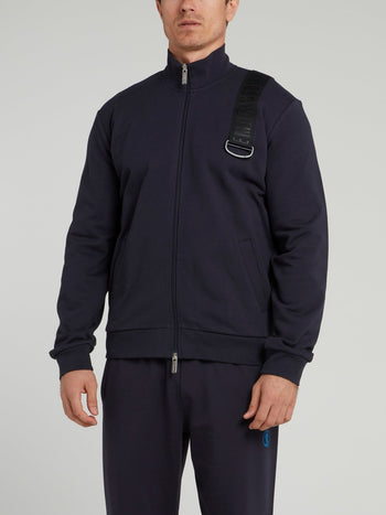 Navy Logo Strap High Neck Jacket