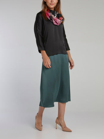 Vanille Black Satin Crepe Top