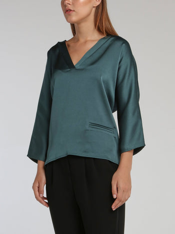 Vanille Teal Satin Crepe Top