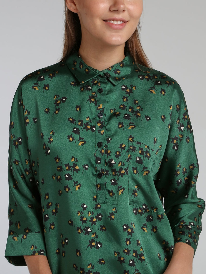 Victori Green Leaf Print Shirt